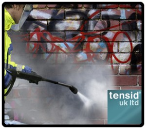 graffiti removal from brick using Tensid's pressure washer and graffi removal chemicals